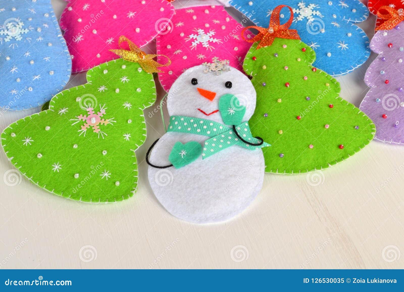 Handmade Felt Christmas Toys Handmade Kids Craft Stock