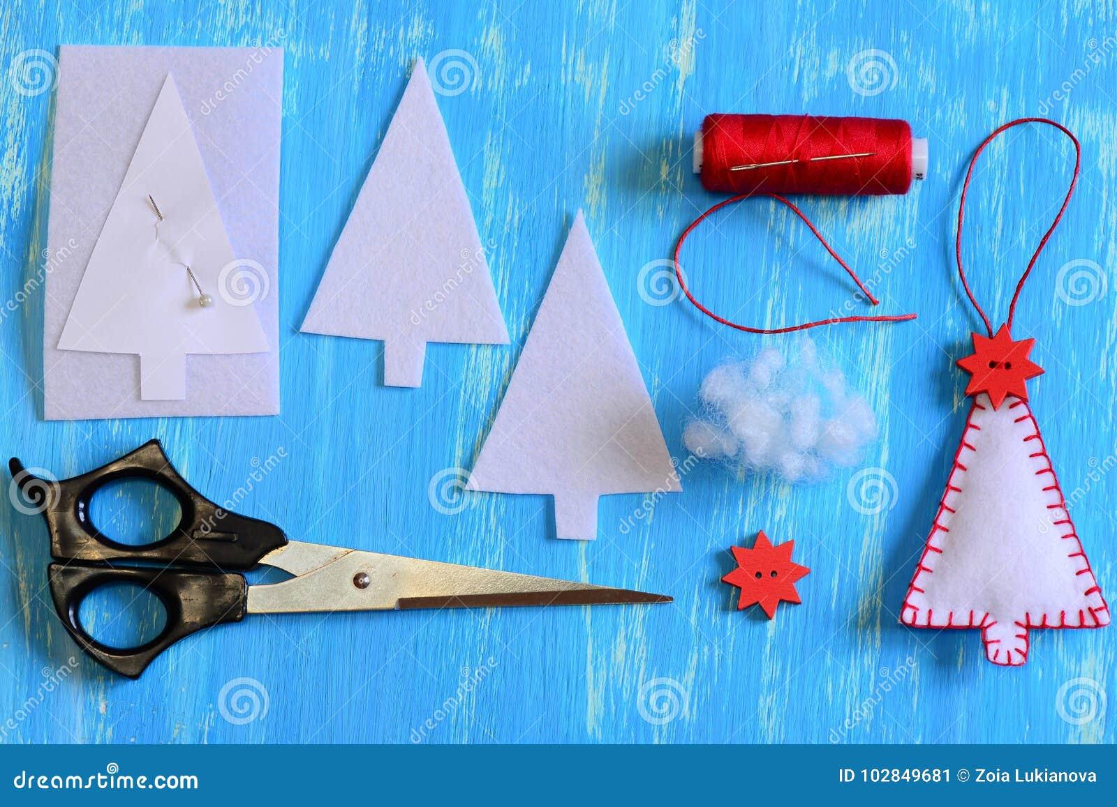 Handmade Felt Christmas Tree Paper Template Felt Details Thread