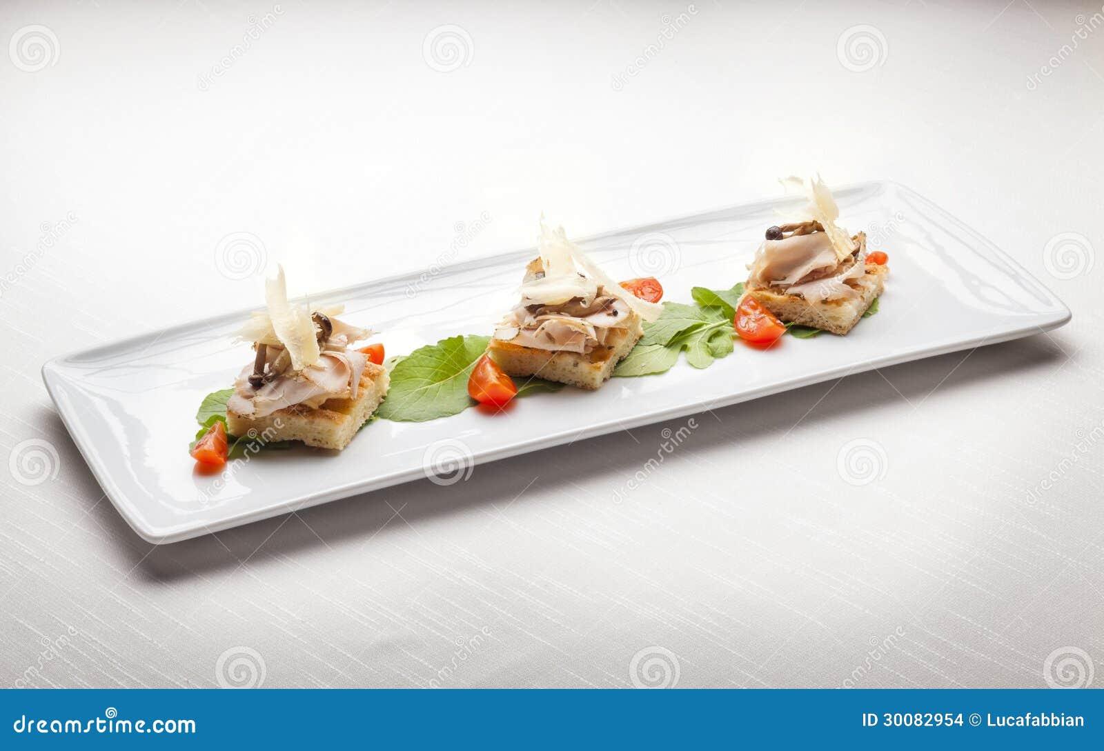 Crostini Di Focaccia Italian Fine Dining Appetizer Stock