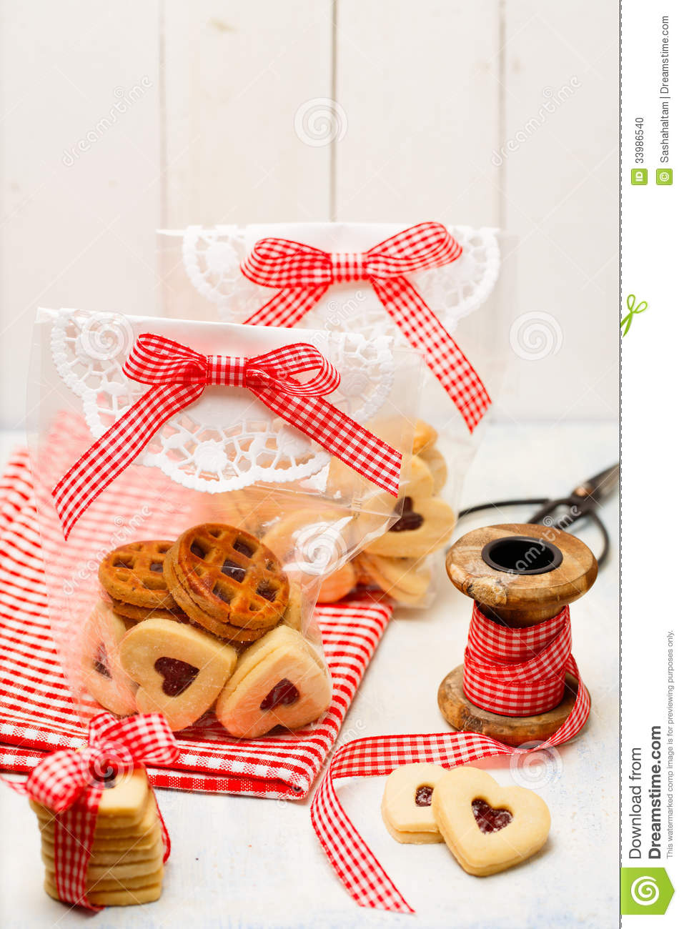 Handmade Gifts With Cookies For Christmas Stock Photo