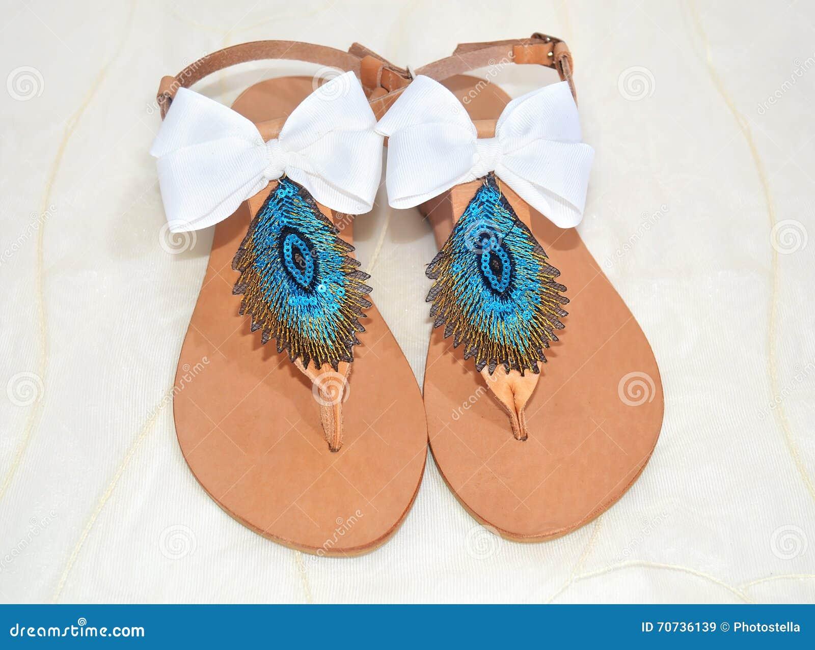 Handmade greek leather sandals stock image image of peacock handmade greek leather sandals biocorpaavc