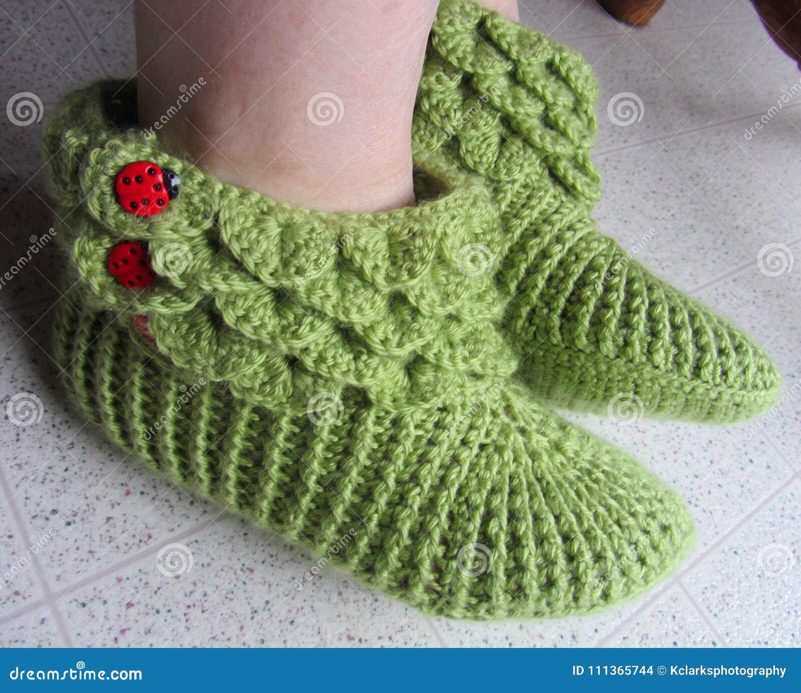 e81ba19a776 Crocodile Stitch Crochet Slippers Lady Bug Buttons Stock Photo ...