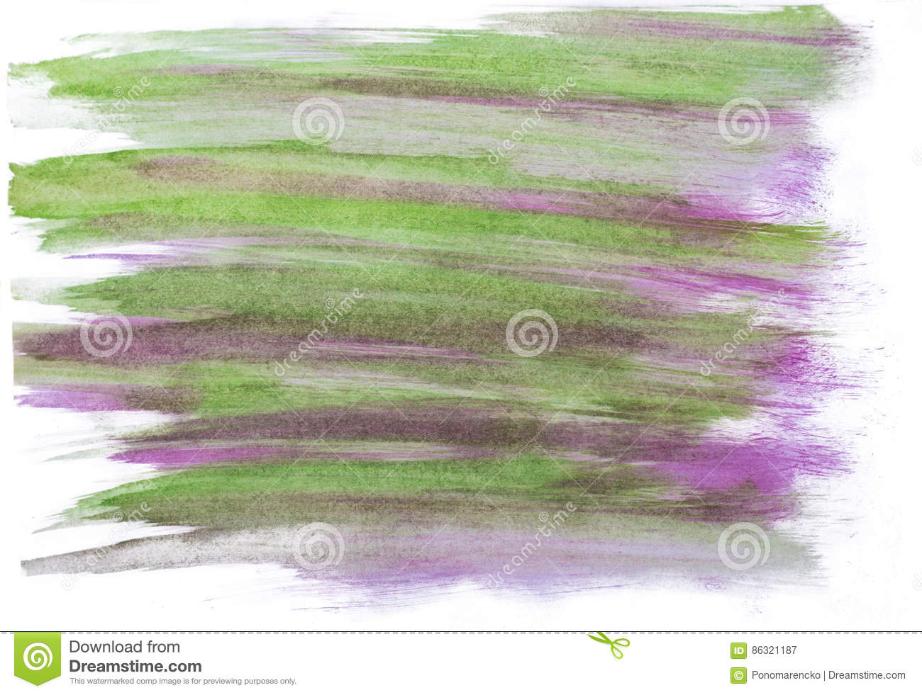 Handmade green and purple watercolor abstract