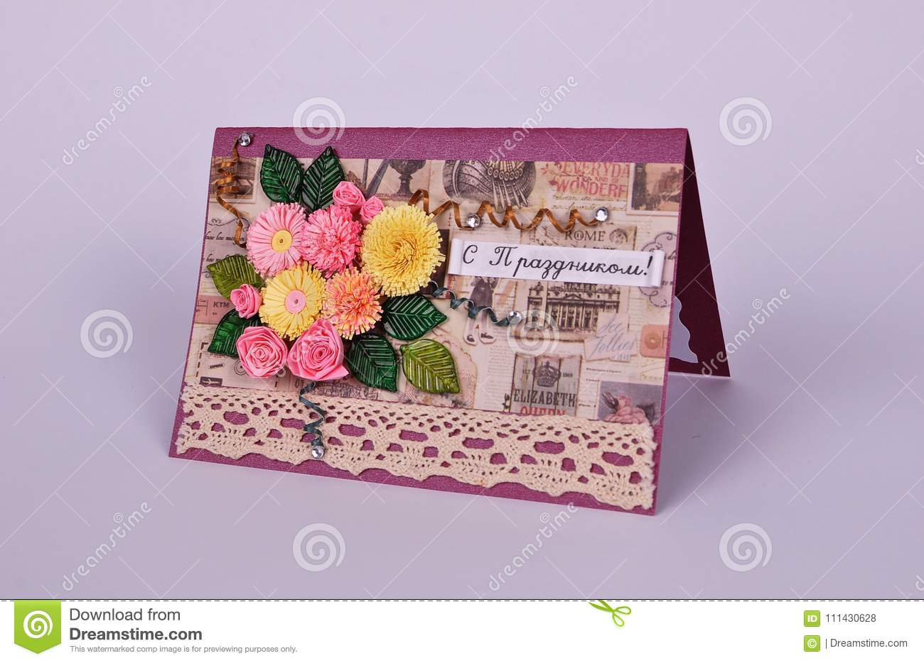 Handmade Greeting Card With Bouquet Of Flowers Stock Photo Image