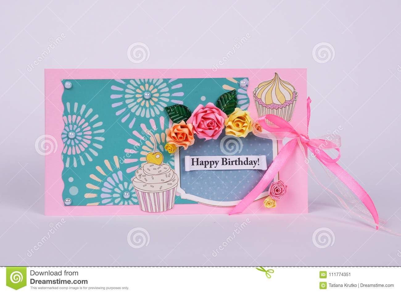 Handmade Greeting Card With Flowers Stock Image Image Of Love
