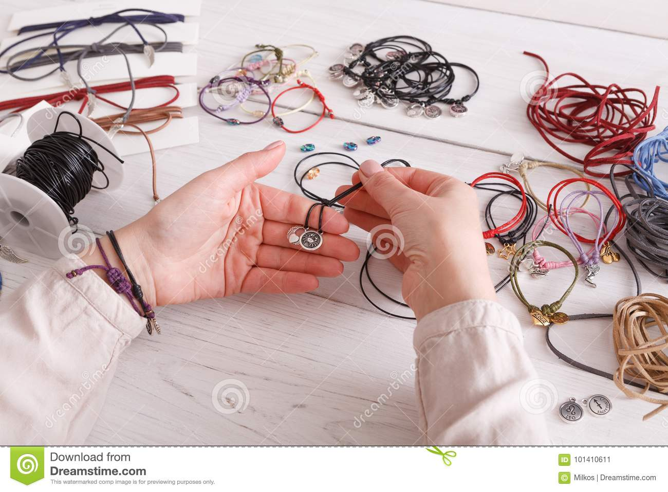 Handmade Jewelry Making Female Hobby Stock Image Of Artisan Wiring Diagram Woman Creating Bracelet At Home Workshop Pov Fashion Handicraft Concept