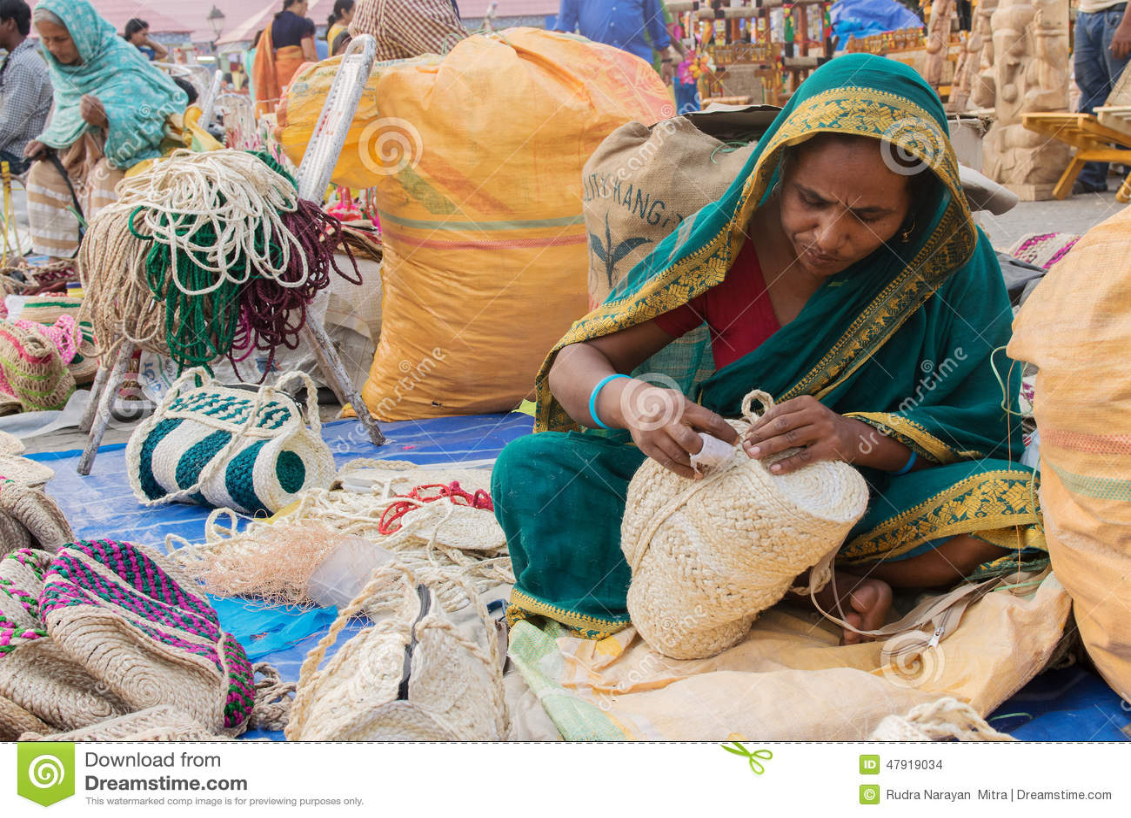 Handmade Jute Bags Indian Handicrafts Fair At Kolkata Editorial