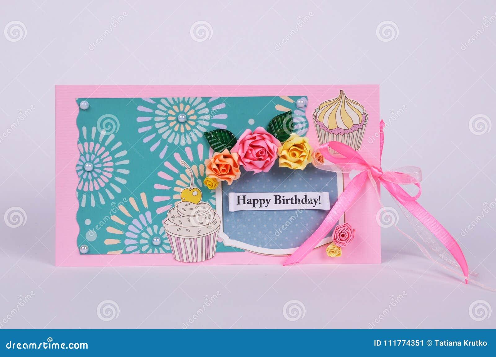 Handmade kartka z pozdrowieniami z kwiatami
