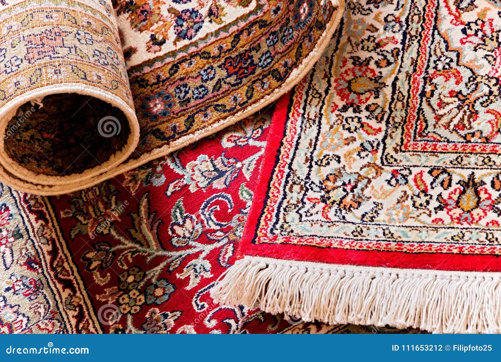 Handmade Kashmil Jedwabiu Dywany Zdjęcie Stock Obraz