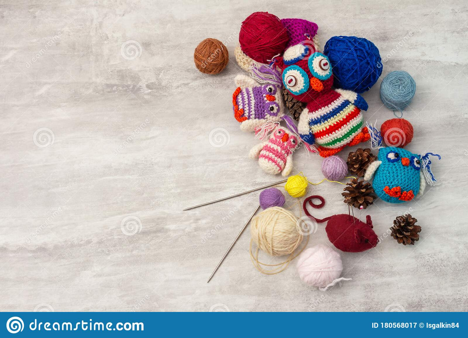 Handmade Knitted Funny Toy Owls With Skeins Of Thread And Yarn Knitting Needles And Pins On The Table Close Up And Copy Space Stock Image Image Of Handmade Wool 180568017