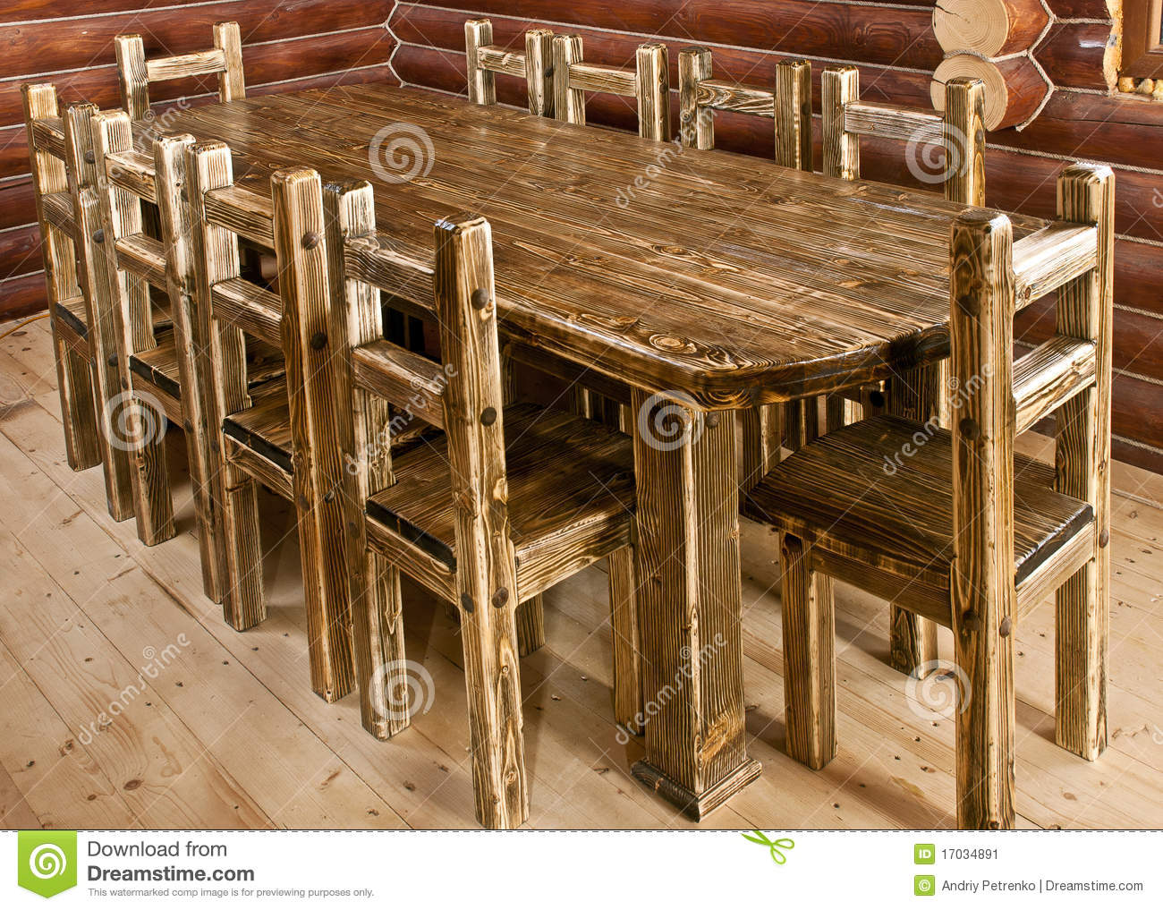Handmade Large Kitchen Table Stock Image - Image of handmade ...