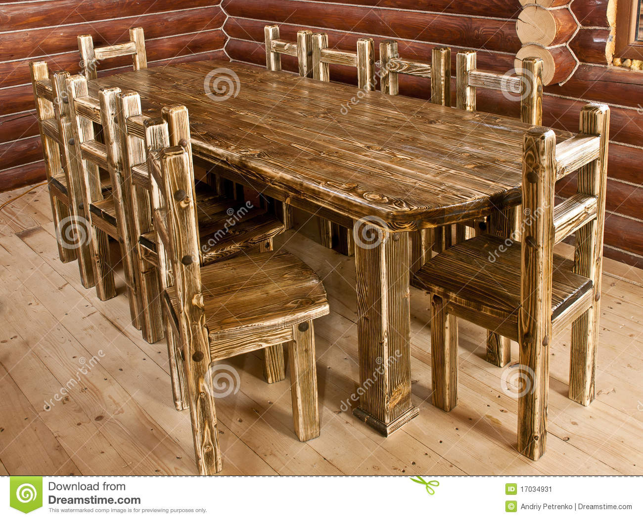 Handmade Large Kitchen Table Stock Image - Image of large ...