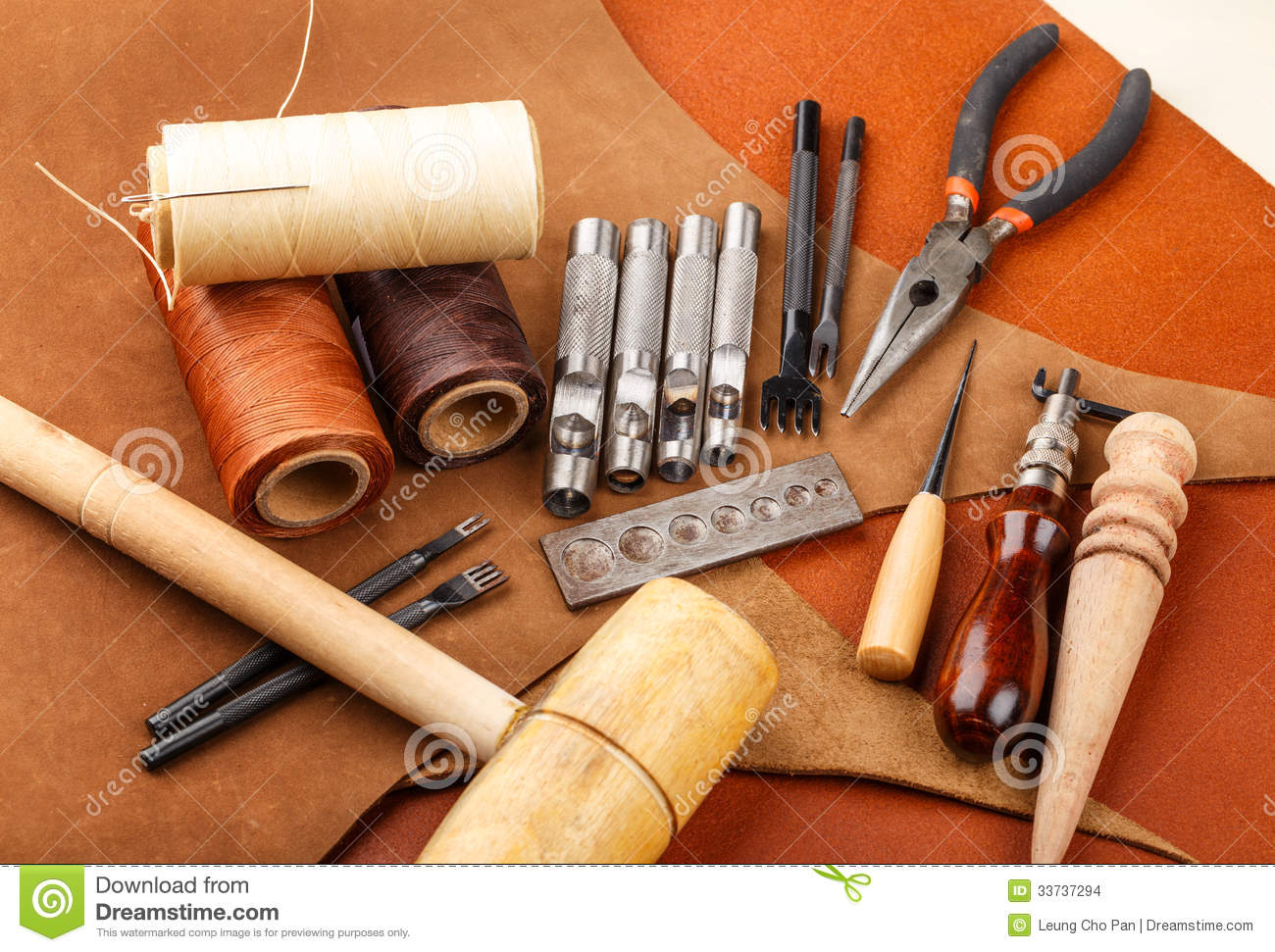 Handmade Leather Craft Tool Stock Photo Image Of Wooden Tanned
