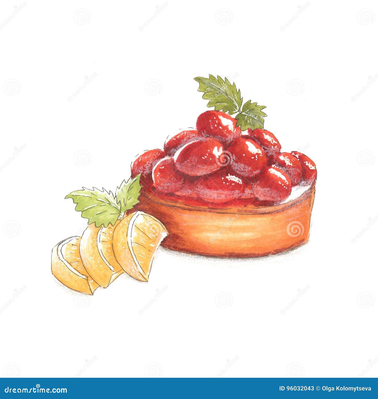 Handmade markier rysująca ilustracja deser z jagodami i cytryna plasterkami