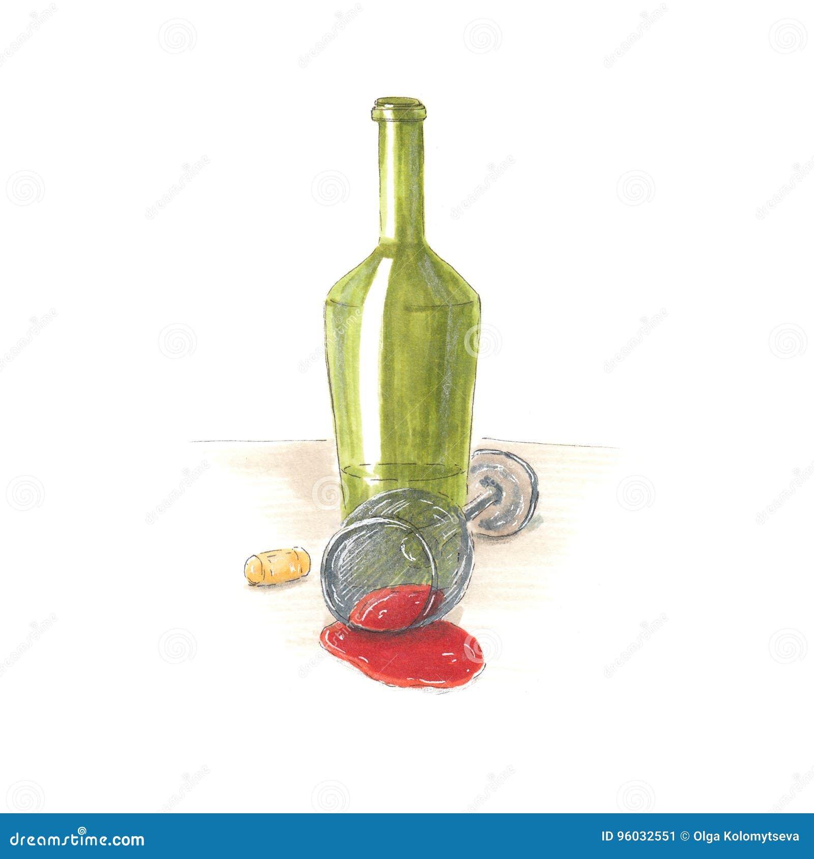 Handmade markier rysująca ilustracja wino