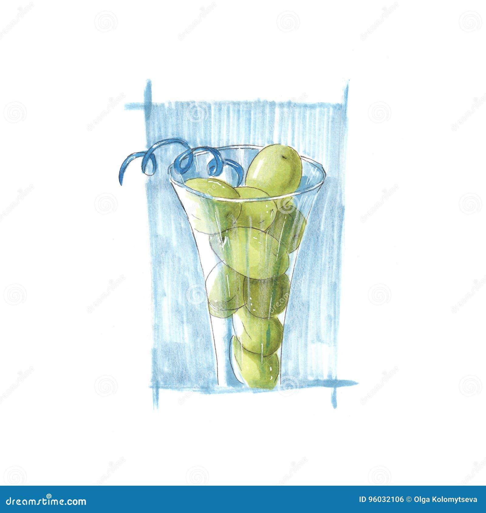Handmade markier rysująca ilustracja winogrona w szkle