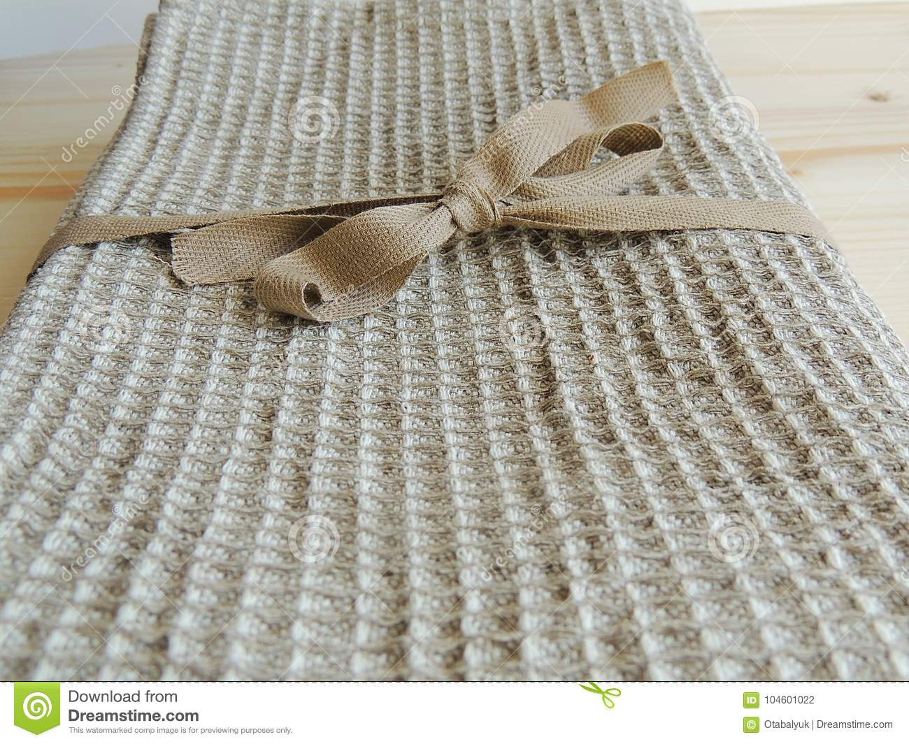 Handmade Natural Linen Bath Towel With Waffle Texture On Wooden