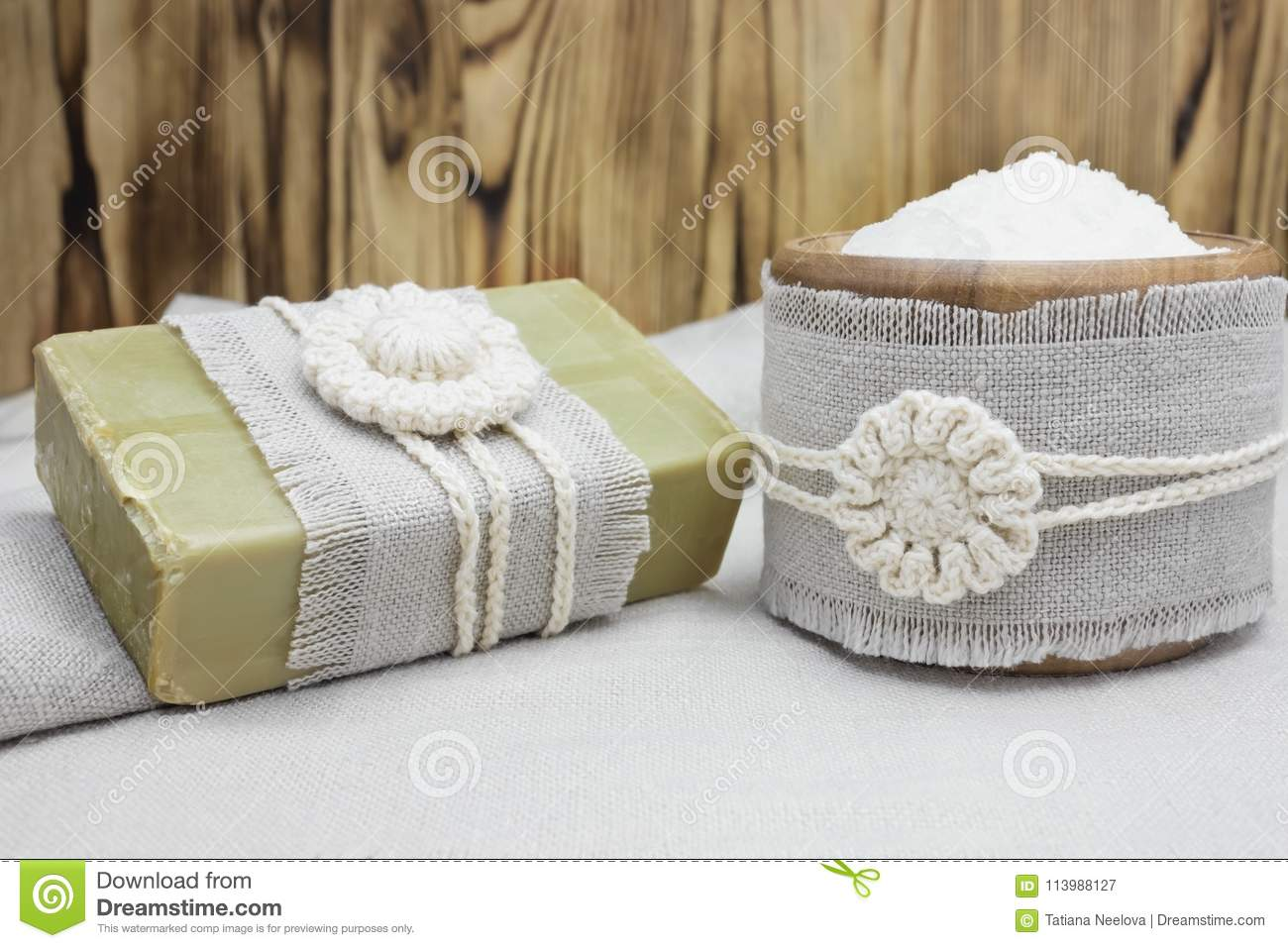 Handmade, Natural Organic Olive Oil Soap And Cosmetic Salt On Linen ...