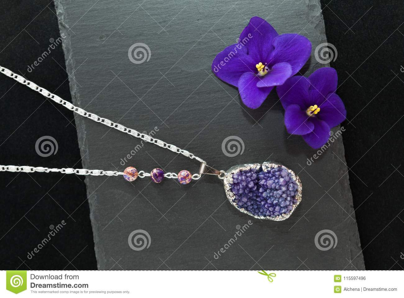 Handmade necklace with druzy violet agate