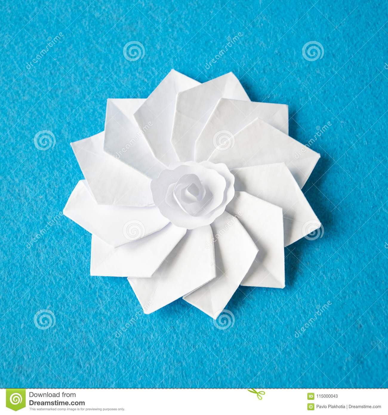 Handmade Origami White Paper Flower Stock Image Image Of Beautiful
