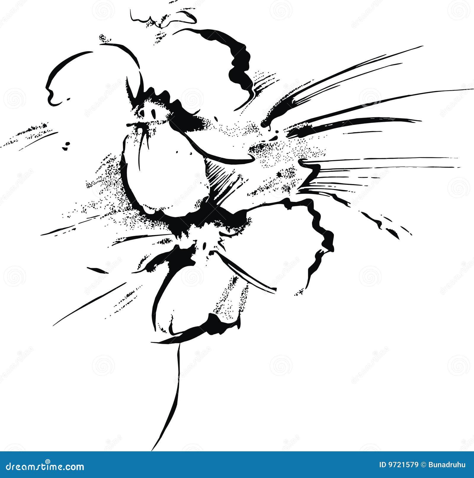 Handmade Painting Flower Stock Vector Illustration Of Vector 9721579