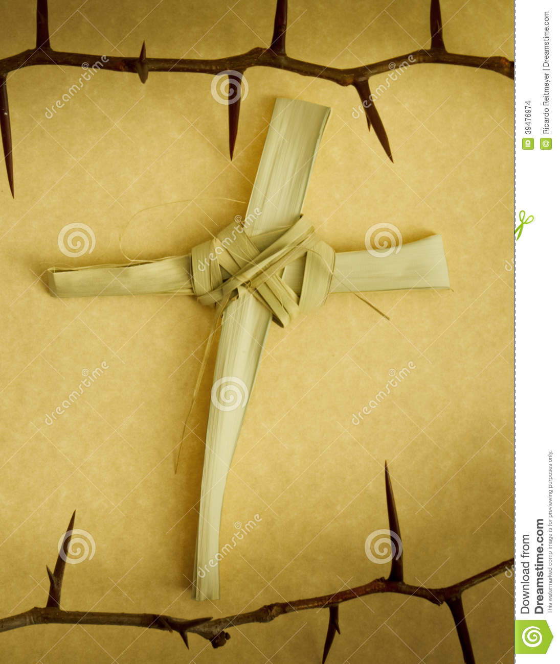 Handmade Palm Branch Cross Surrounded By Crown Of Thorns Stock Photo ...