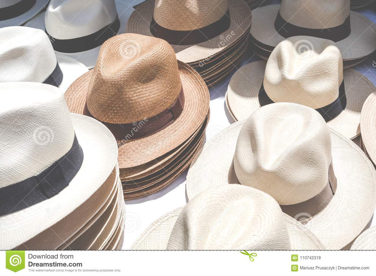 5b3b6208844c0 Handmade Panama Hats At The Traditional Outdoor Market. Popular ...