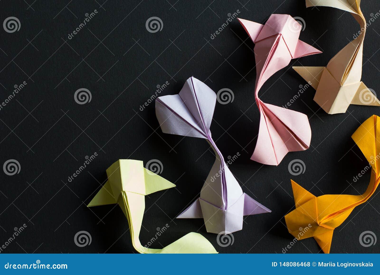 Handmade Paper Craft Origami Gold Yellow Pink Koi Carp