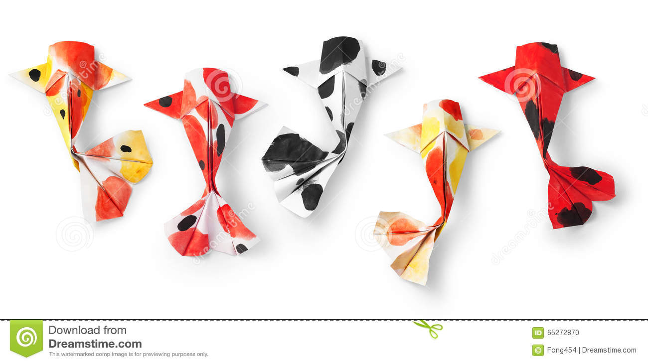Handmade paper craft origami koi carp fish on white for Coy poisson