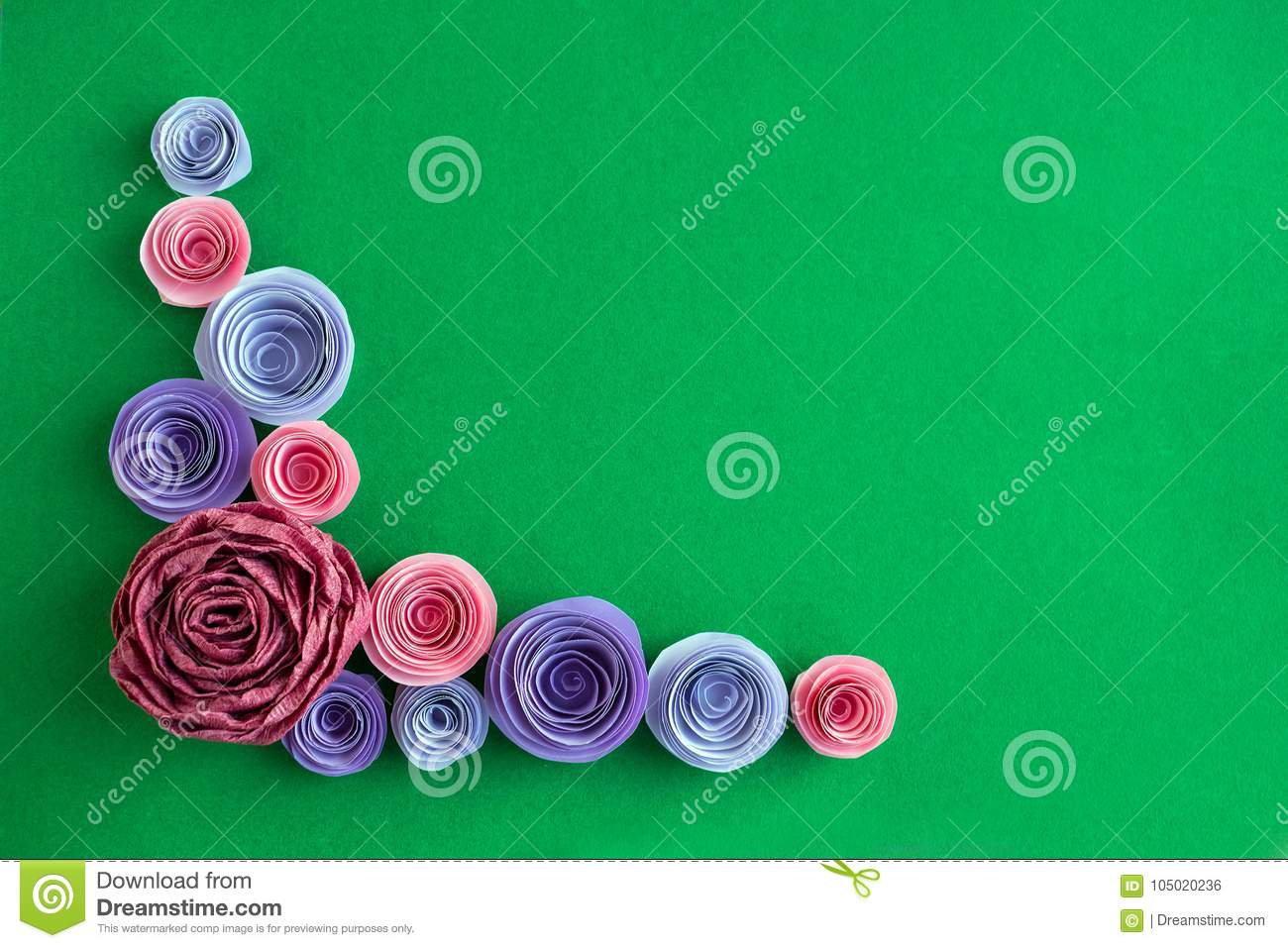 Handmade Paper Flowers Angled Frame On A Green Background Beaut