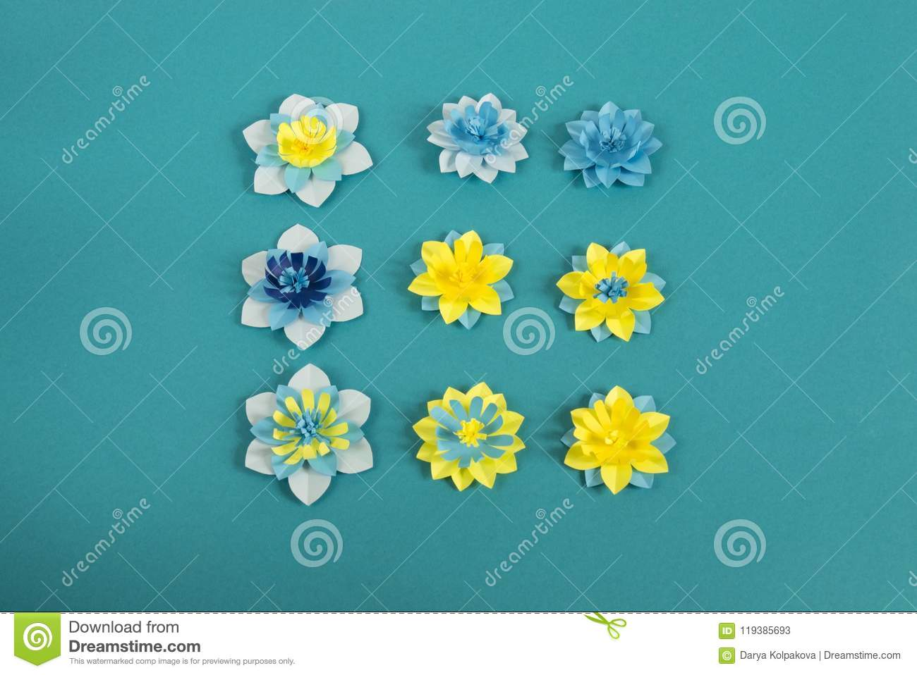 Handmade Paper Flowers On Blue Background Favorite Hobby Stock