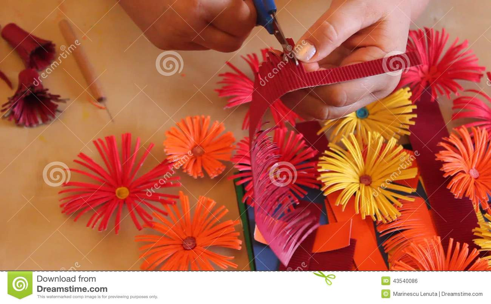 Handmade Paper Flowers Stock Footage Image Of Craft 43540086