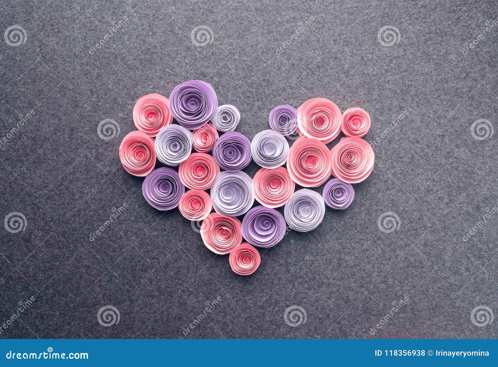 Handmade Paper Flowers Heart On Dark Felt Background Beautiful