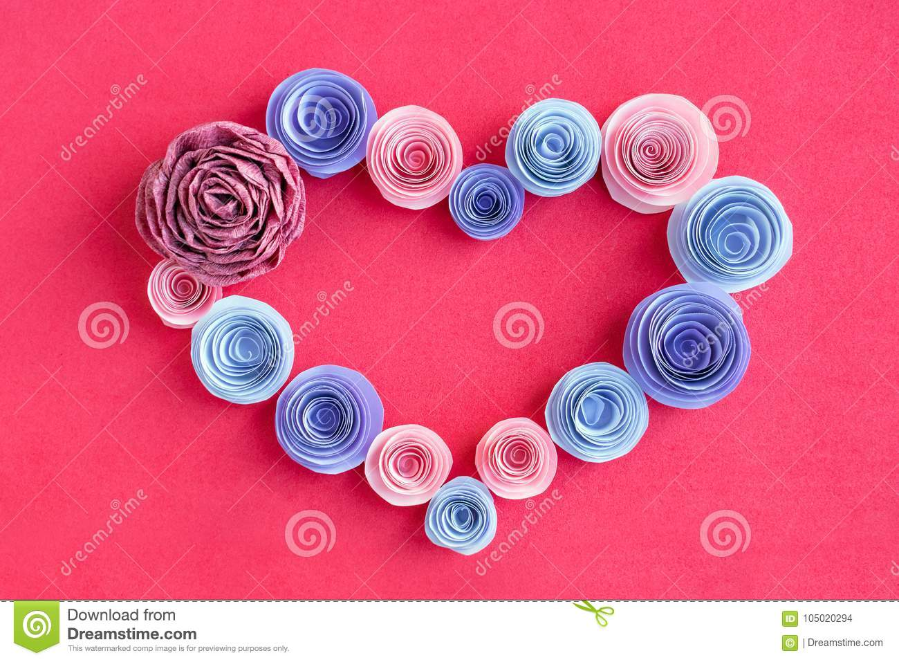 Handmade Paper Flowers Heart Frame On A Pink Background Beautif