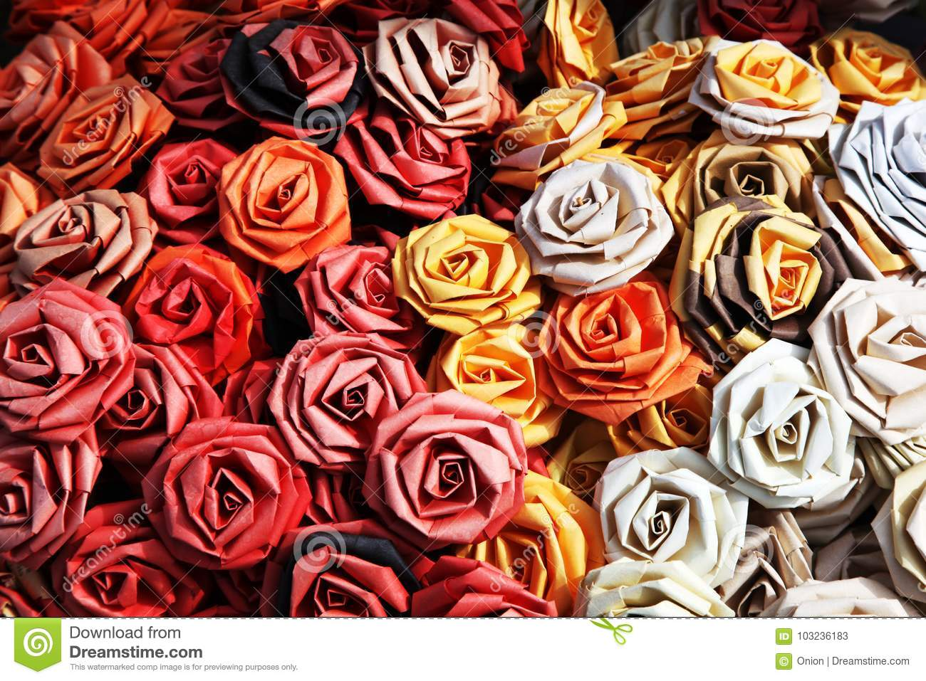 Handmade Paper Roses In A Variety Of Colors Stock Image Image Of