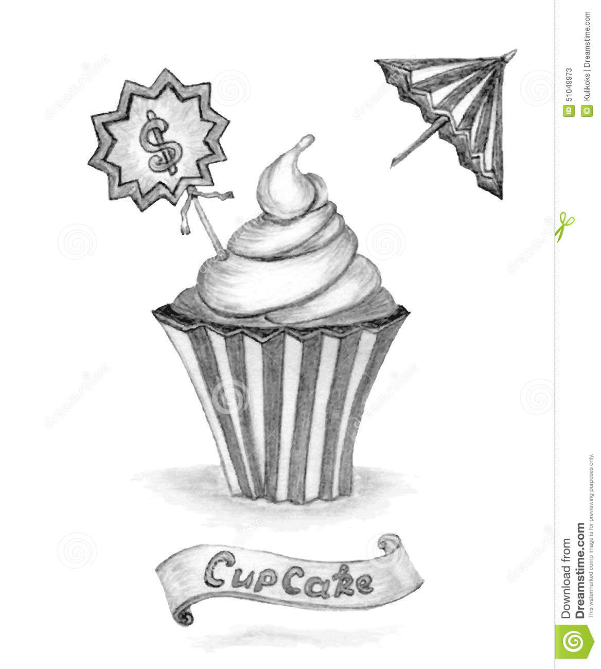 Handmade pencil sketch cupcake with price umbrella ribbon on white