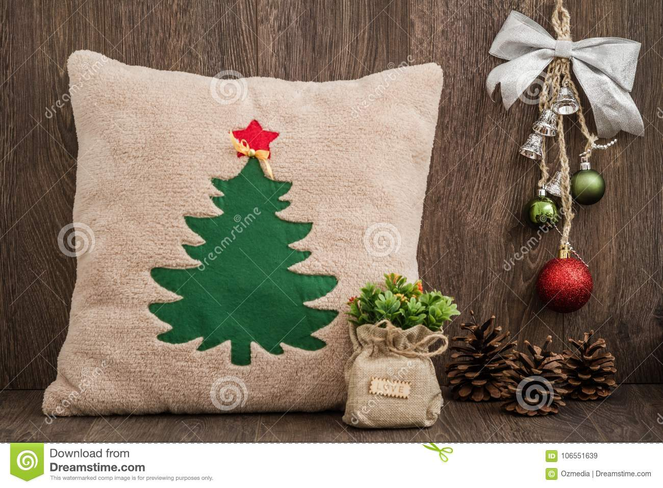download handmade pillow with christmas tree pattern on wooden backgroun stock image image of decorative