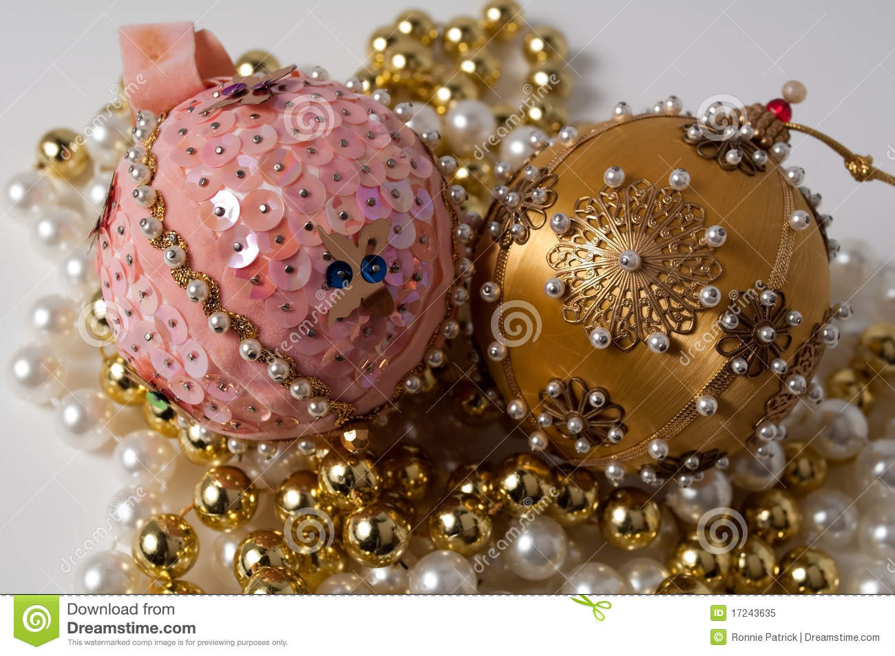 handmade pink gold christmas tree ornaments stock images 4 photos