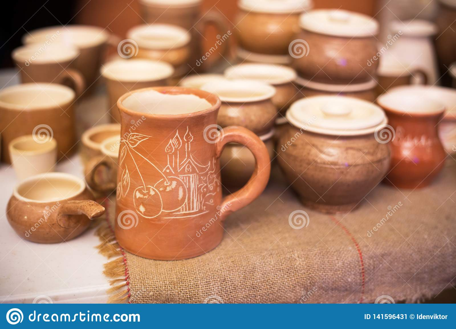Handmade Pottery Ceramic Clay Pots Jug And Cups Stock Image Image Of Pitcher Pots 141596431