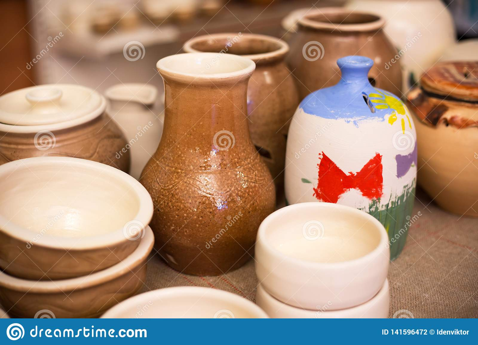Handmade Pottery Ceramic Clay Pots Jug And Cups Stock Photo Image Of Vase Handicraft 141596472