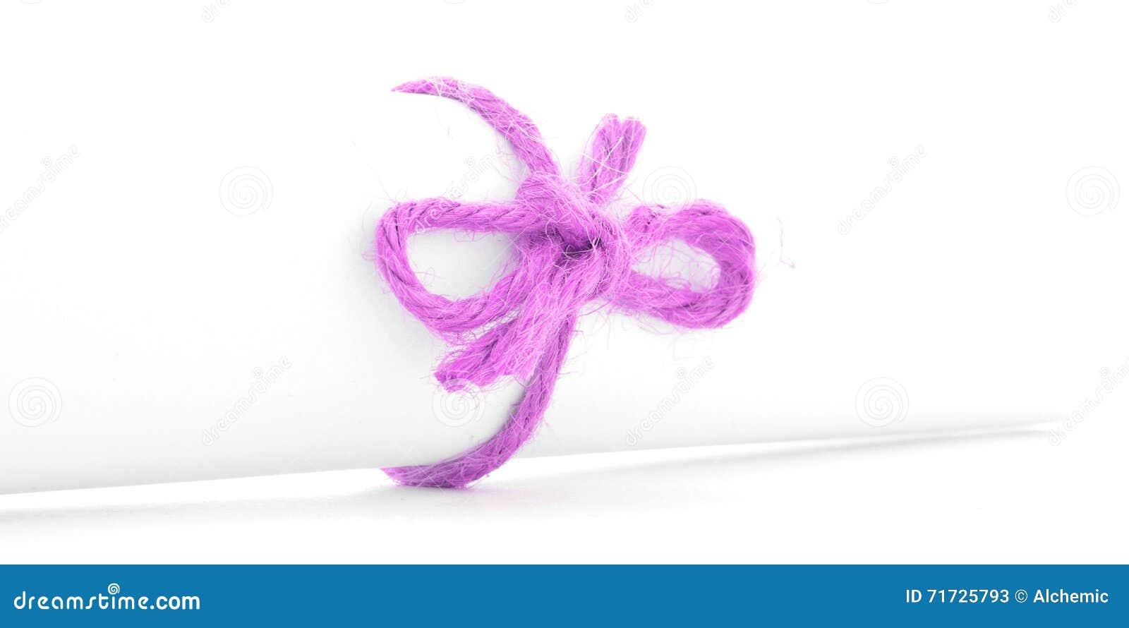 Handmade różowy linowy guzek wiązał na bielu listu ślimacznicie odizolowywającej