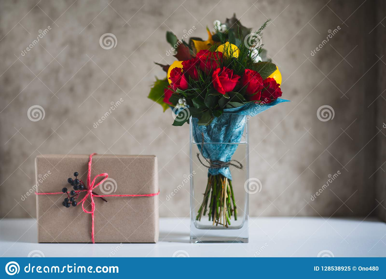 Gift Box With Flowers Stock Image Image Of Gift Heart 128538925