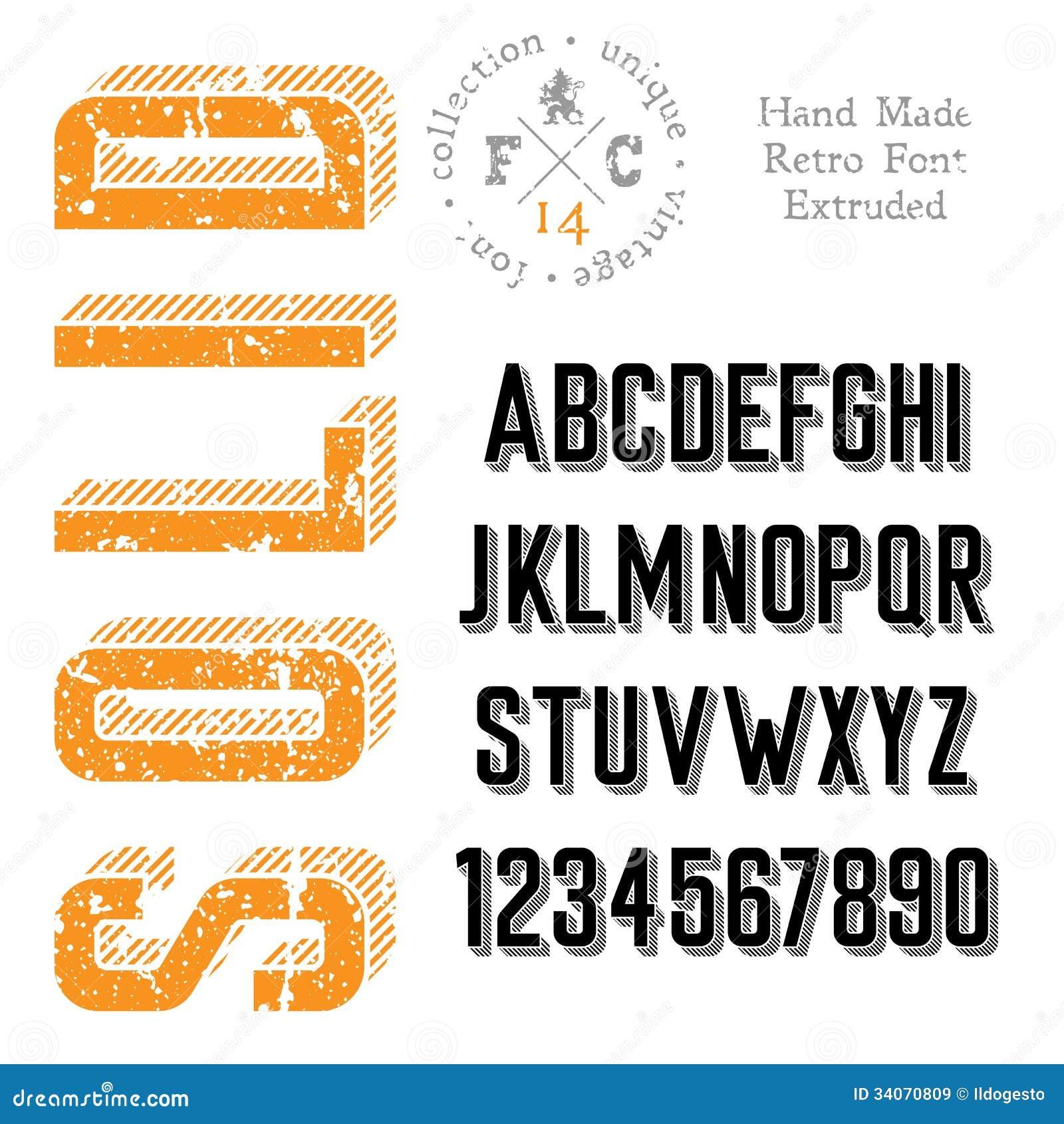 Handmade Retro Font Royalty Free Stock Images