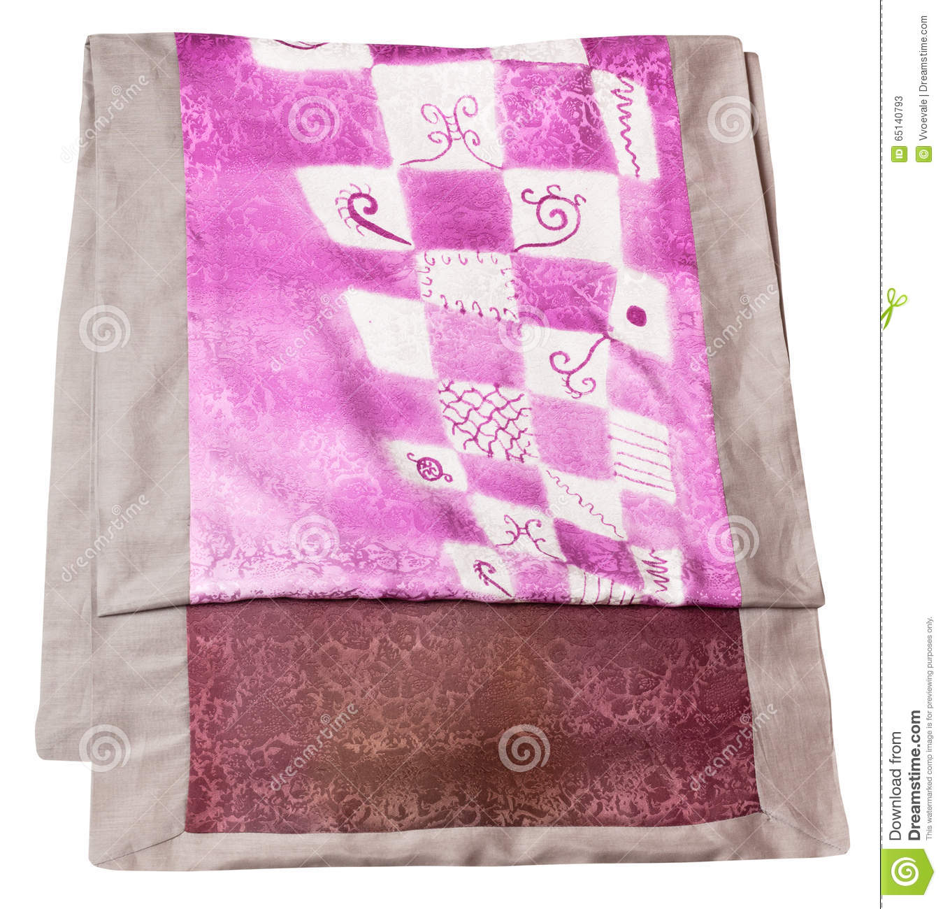 Handmade Batik Silk Scarf Geometric Pattern Stock Images