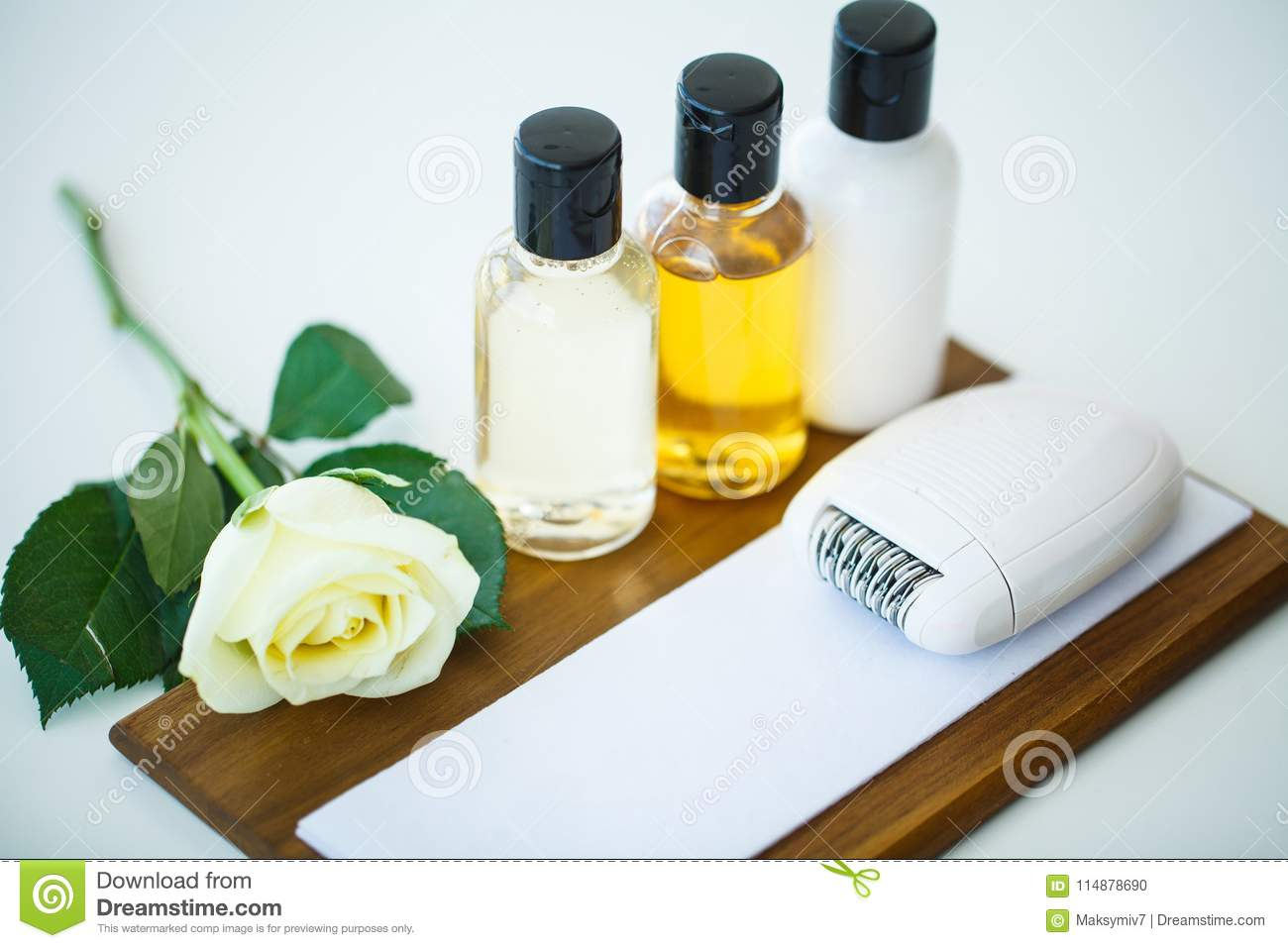 Handmade Soap And Aroma Oil With White Flower Spa Products Stock