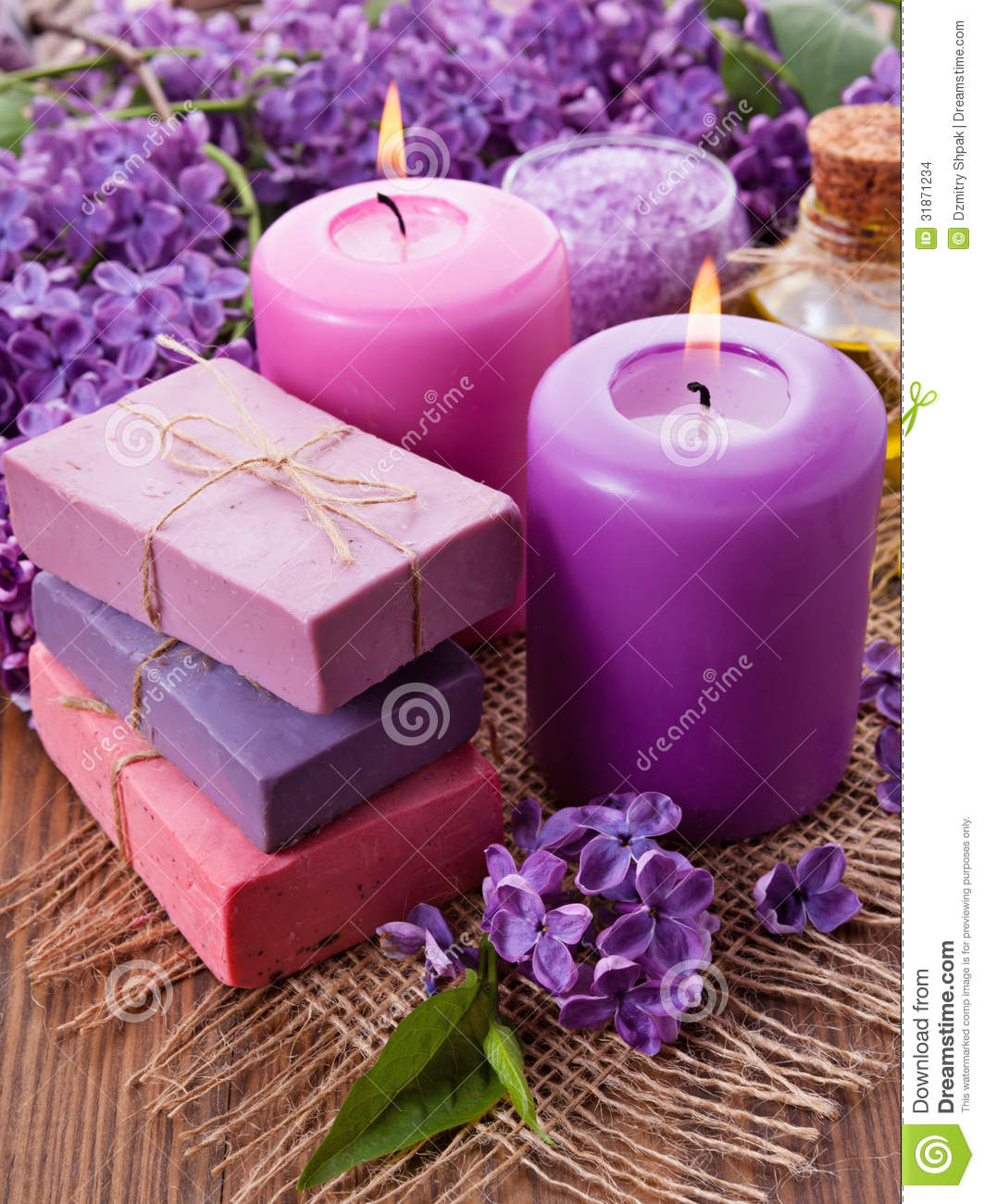 Handmade Soap, Candle And Lilac Stock Images - Image: 31871234