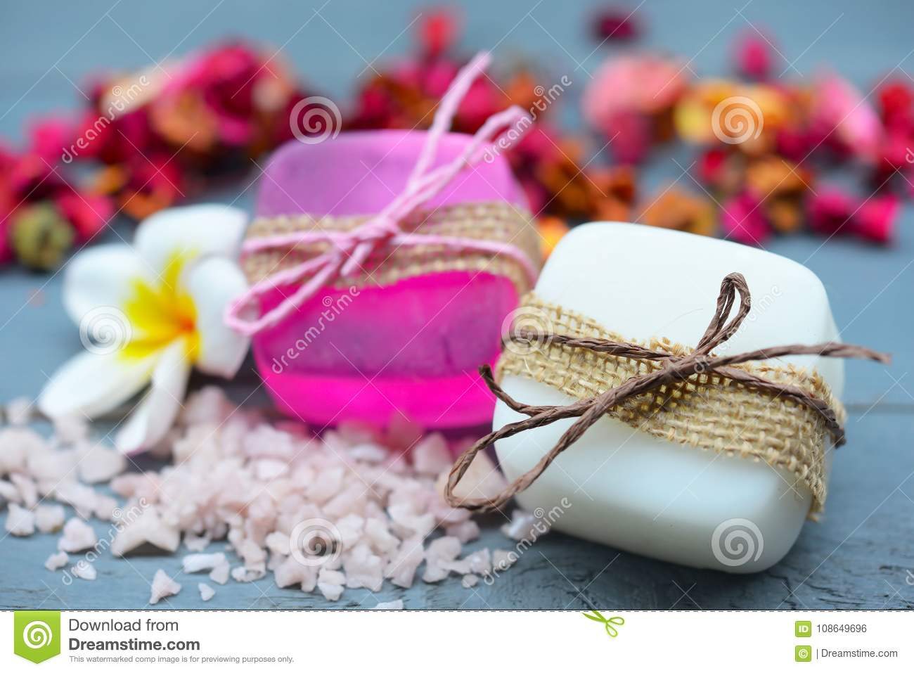 Spa Setting With Natural Soaps And Flower. For Aromatherapy. Stock ...