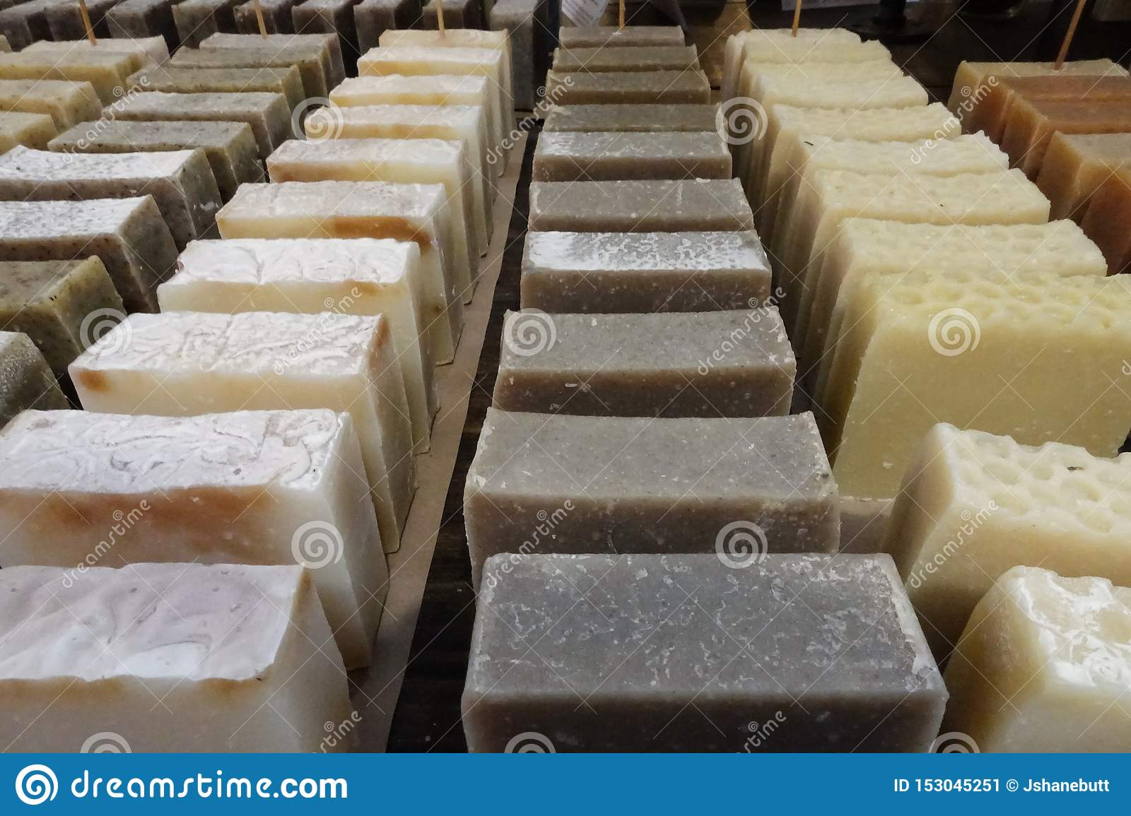 Handmade soap at a stand stock image  Image of beauty