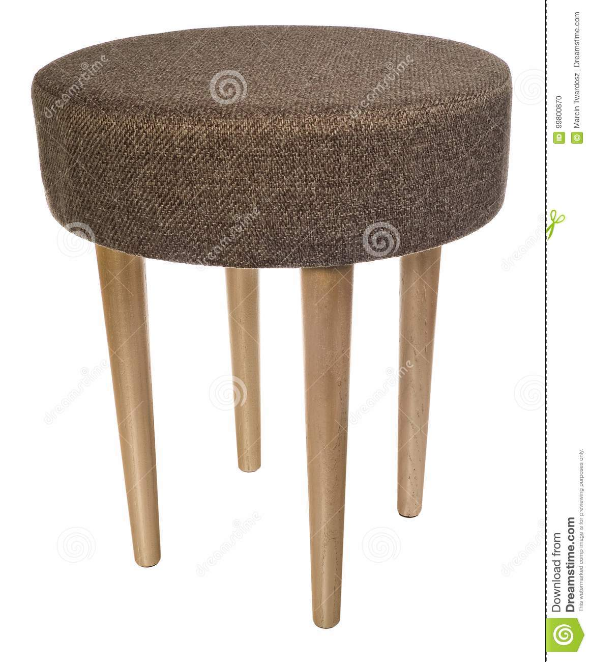 Enjoyable Handmade Stool In Gold Round Seat With Brown Material Machost Co Dining Chair Design Ideas Machostcouk