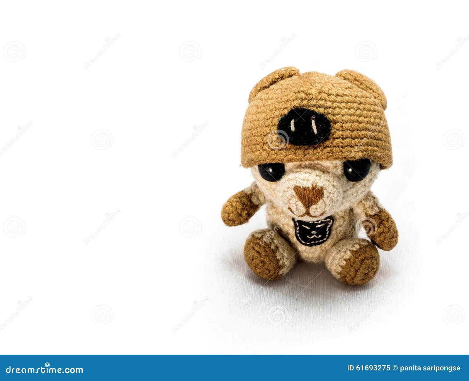 Handmade szydełkowa brown niedźwiedzia lala
